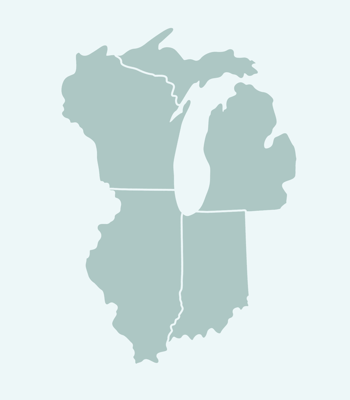 Sales Rep's Map of Illinois, Wisconsin, Indiana, Michigan for Women's Clothing Line Keren Hart